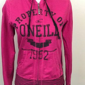 O'Neill Womens Reversible Pink Black Stripe Hoodie